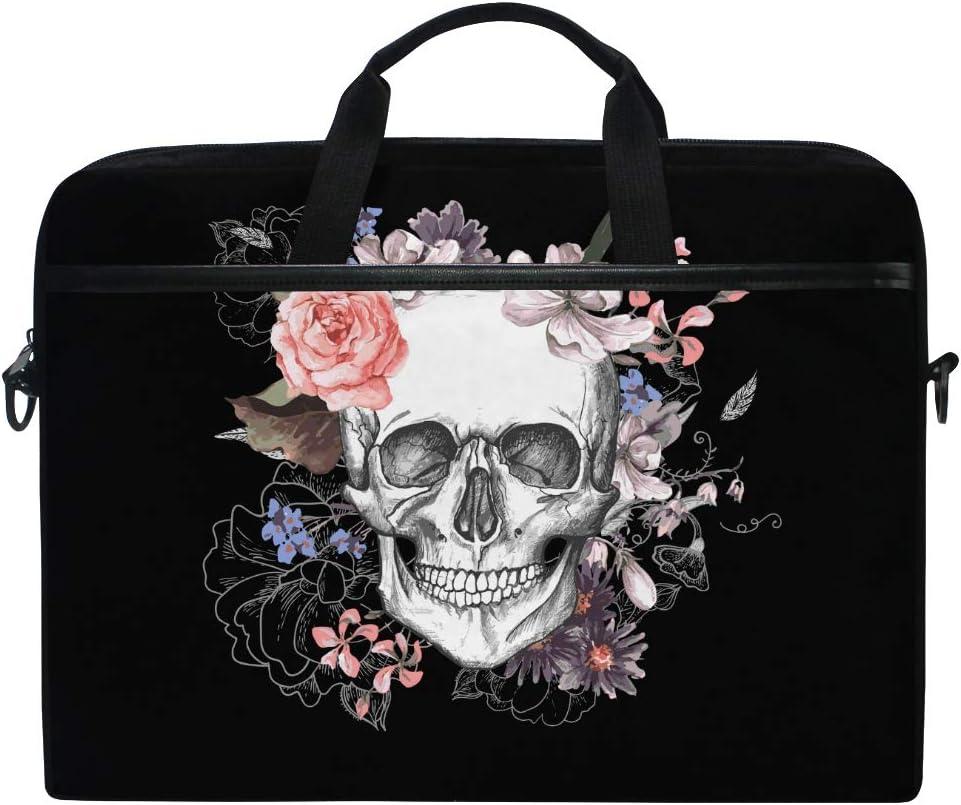 AHU Laptop Sleeve Case Bag Sugar Skull Floral Halloween Messenger Bag Travel Briefcase with Shoulder Strap for 14-14.5 inch Lenovo Dell HP MacBook