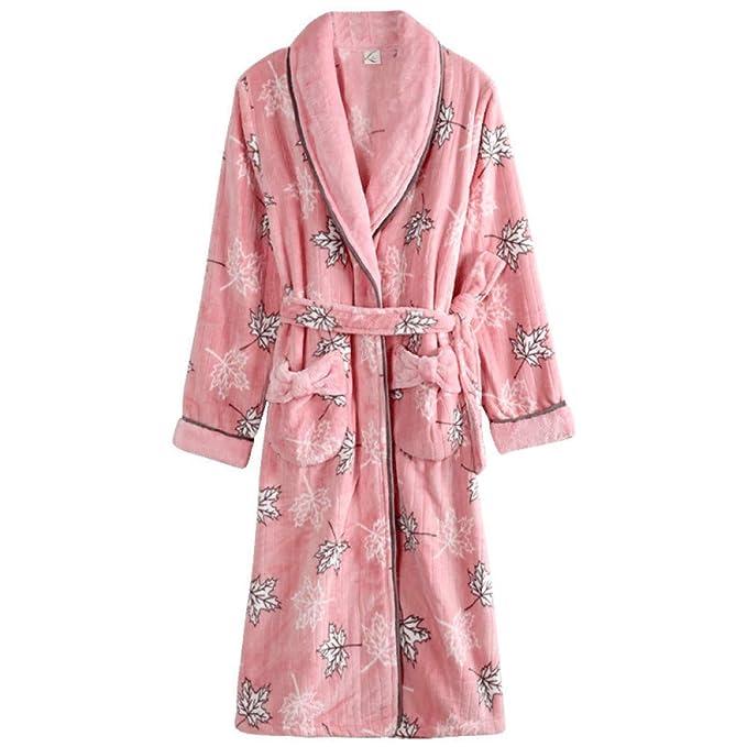 Loungewear Albornoces Largos Pijamas Túnica Invierno Coral Terciopelo Bata Señoras Camisón: Amazon.es: Ropa y accesorios