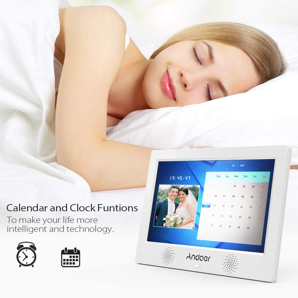 Calendar USB and SD Card Slots Background Music Andoer 10.1 Inch Digital Picture Photo Frame 16:9 IPS Screen Include 8GB SD Card Support Video