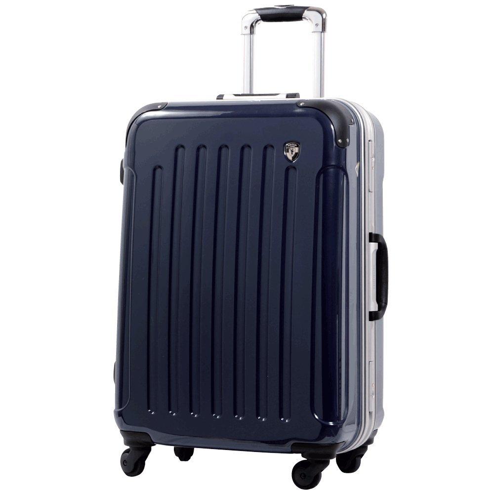 [グリフィンランド]_Griffinland TSAロック搭載 スーツケース 軽量 アルミフレーム ミラー加工 newPC7000 フレーム開閉式 B078JWGKV6 M(中)型+【名前刻印】|ダークネイビー ダークネイビー M(中)型+【名前刻印】