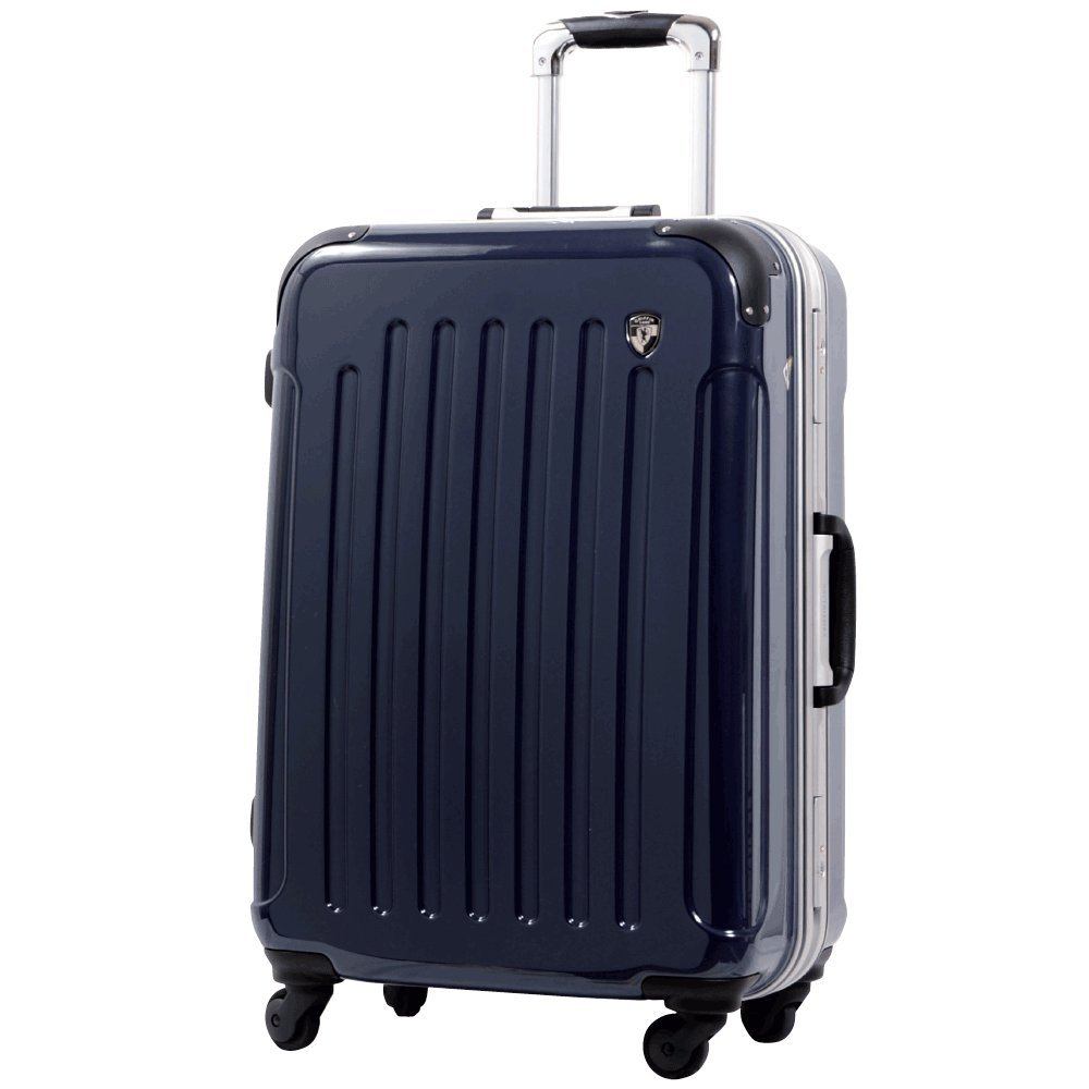 [グリフィンランド]_Griffinland TSAロック搭載 スーツケース 軽量 アルミフレーム ミラー加工 newPC7000 フレーム開閉式 B078JD7G65 MS型+【名前刻印】|ダークネイビー ダークネイビー MS型+【名前刻印】