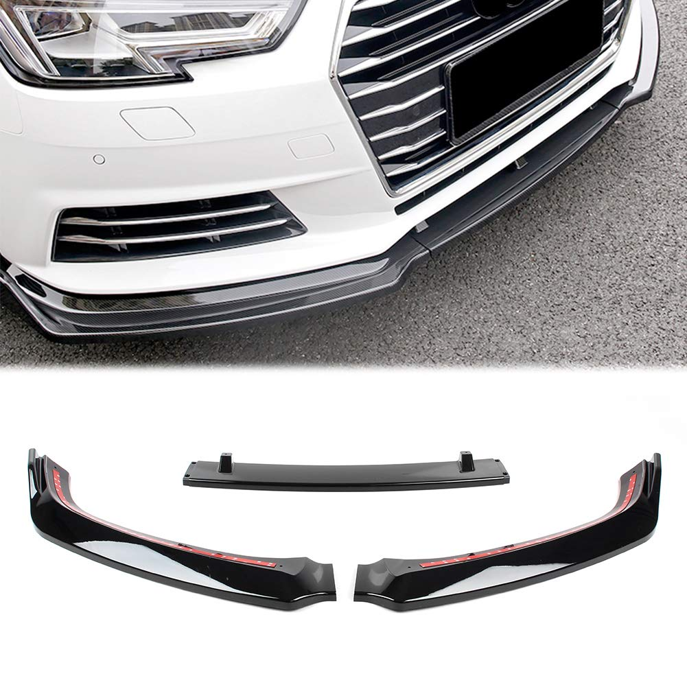 Carbon Fiber Newsmarts 3pcs Front Lower Bumper Lip Spoiler Splitter Diffuser for Audi A4 B9 S4 Sedan 2017 2018