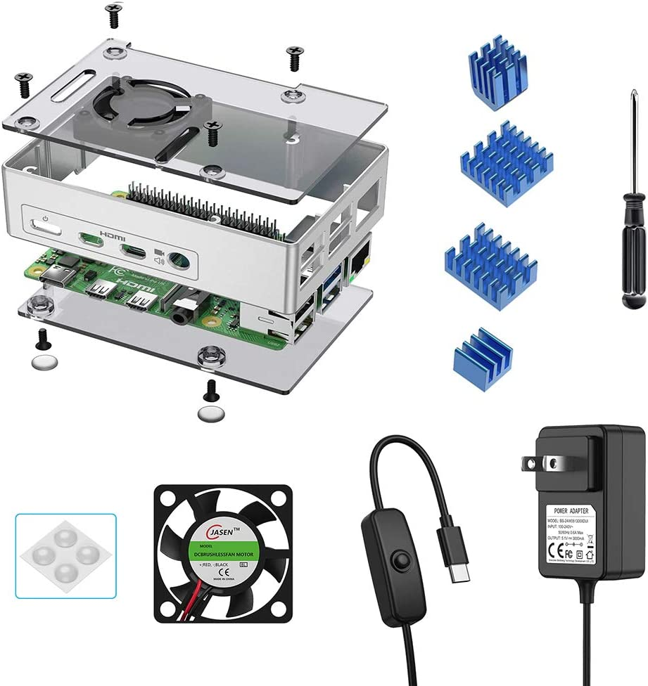 Newding Case for Raspberry Pi 4 Case Model B, Case with Cooling Fan, 5.1V3A USB-C Power Supply with ON/Off Switch, 4PCS Rubber feet, 4PCS Aluminum Radiator, 1 PCS Cooling Fan for Raspberry Pi 4