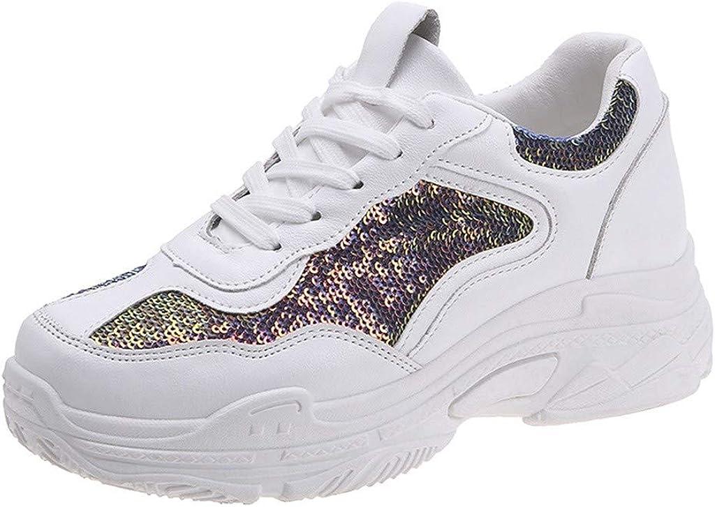 Dacawin_Women Sport Shoes Zapatillas deportivas para caminar con lentejuelas, para deportes al aire libre, con cordones, con esponja, para proteger el tobillo, para mujer: Amazon.es: Electrónica