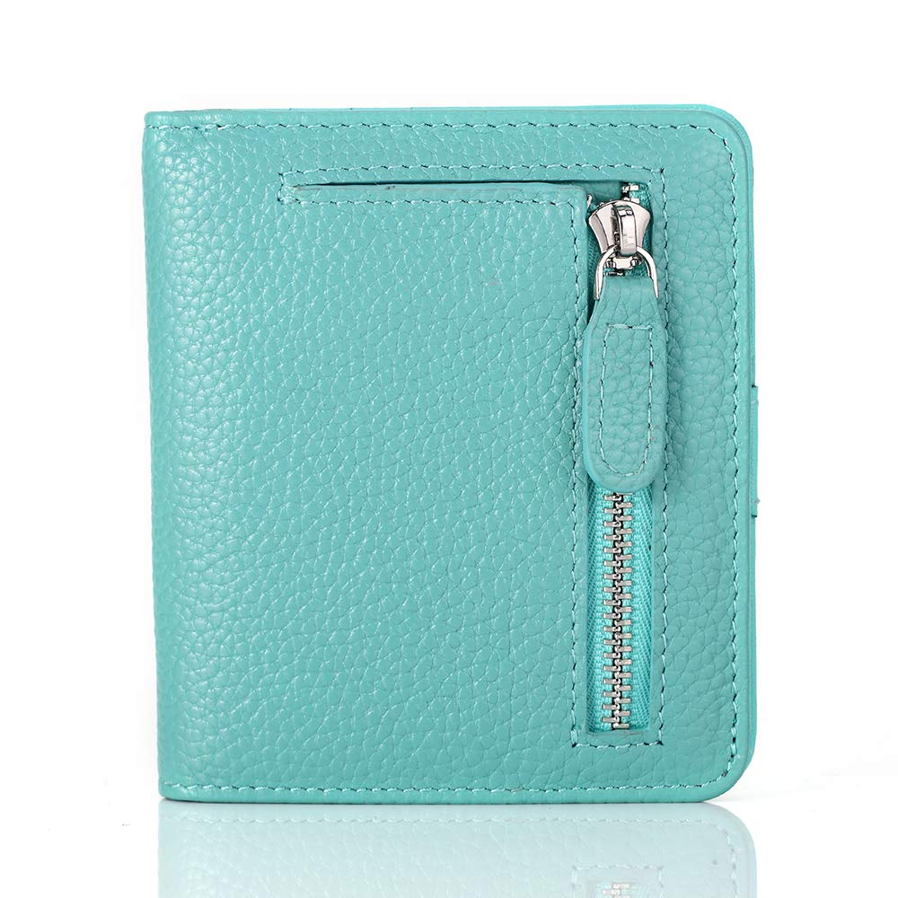 FUNTOR Leather Wallet for women, Ladies Small Compact Bifold Pocket RFID Blocking Wallet for Women, Blue by FT FUNTOR