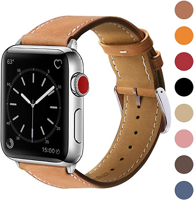 Marge Plus Compatible with Apple Watch Band 42mm 44mm, Genuine Leather Replacement Band Compatible with Apple Watch Series 5 4 (44mm) Series 3 2 1 (42mm), Brown Band/Silver Adapter