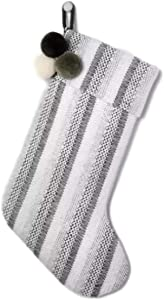 Hearth & Hand with Magnolia Holiday Stocking Black Stripe with Poms