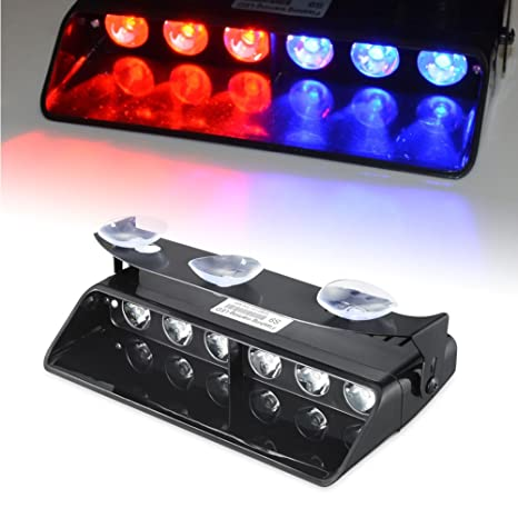 Amazon.com: Emergency Dash Lights, 6W Red Blue LED Warning Strobe Lighting  16 Flashing Patterns For Police Car: Automotive