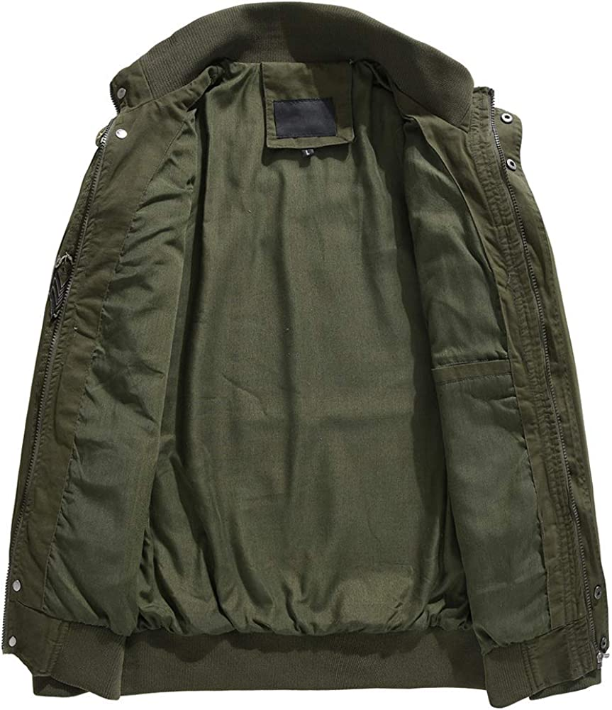 Mens Casual Cotton Military Jackets Outdoor Windproof Coat