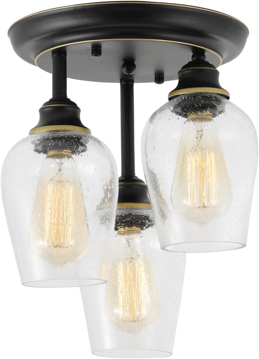 Ceiling Lights Fixtures, HMVPL Semi Flush Mount Kitchen Close to Ceiling Lamp, Farmhouse Edison Seeded Glass Pendant Lighting for Island Dining Room Hallway Bedroom 3-Lights