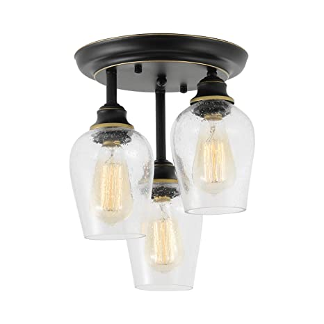 Ceiling Lights Fixtures, HMVPL Semi Flush Mount Kitchen Close to Ceiling  Lamp, Farmhouse Edison Seeded Glass Pendant Lighting for Island Dining Room  ...