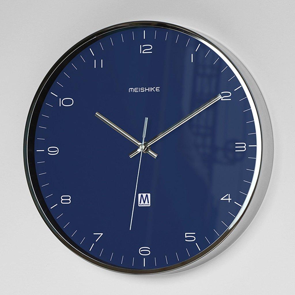 ヨーロッパスタイルのシンプルな金属ファッション消音掃引秒クロック (Color : Blue) B07D5PTKFHBlue