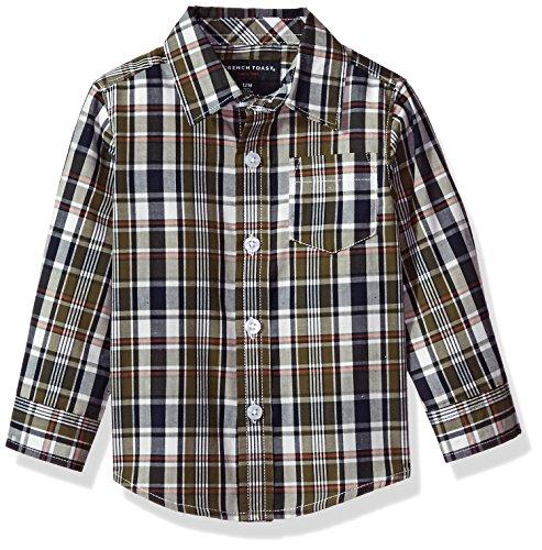 French Toast Baby Boys' Long Sleeve Woven Yarn-Dye Shirt, Ivy League, 12M -