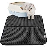 猫マット 猫砂マット 猫トイレ用品 猫トイレマット 猫の砂取りマット 飛び散り防止マット 滑り止めマット 防カビ防臭防水 二重構造 75 cm x 55 cm