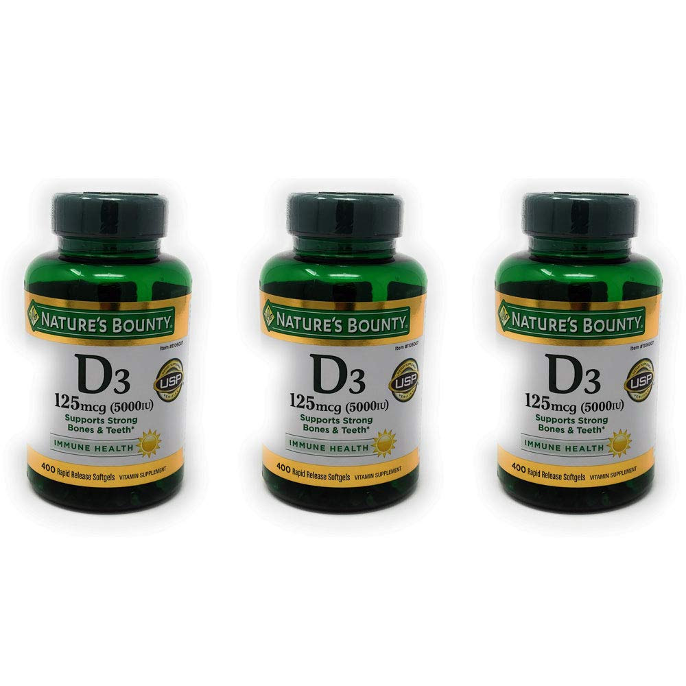 Nature's Bounty Vitamin D3 5000 IU, 300 Softgels (Pack of 3)