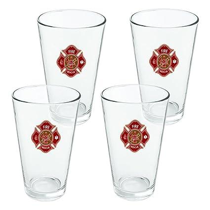 Bombero Fire Rescue Cruz de Malta – 16oz cerveza potable vidrio templado diseño de juego de