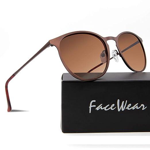 639a69d71d20 Facewear Classic Round Retro Sunglasses UV400 Circle Lens Metal Frame Men  Women FW1006 C1 brown