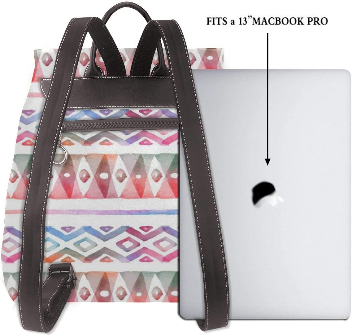 Leather Backpack Watercolor Tribal Tent Totem Womens PU Bookbag School Purse Shoulder Bag
