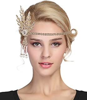 Urban CoCo Women's 1920s Gatsby Leaf Flapper Headband Wedding Party Pearl Headpiece EXHD5831BH