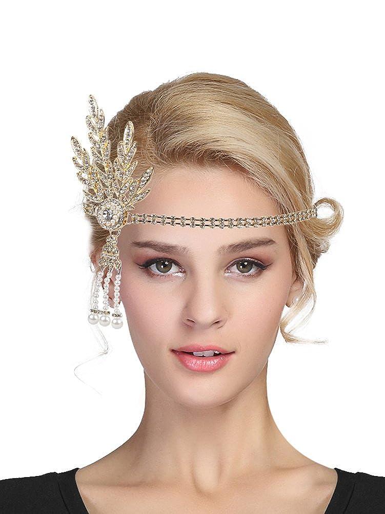 Urban CoCo Women's 1920s Gatsby Leaf Flapper Headband Wedding Party Pearl Headpiece EXHD5831BGD