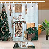 Cheap NYMB New Year Festival Decor, Christmas Tree Fireplace and Presents for Family, 69X70in Mildew Resistant Polyester Fabric Shower Curtain Set 15.7×23.6in Flannel Non-Slip Floor Doormat Bath Rugs