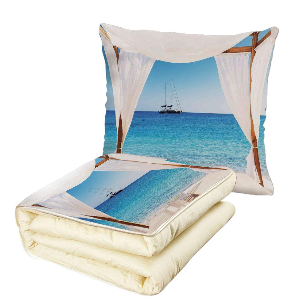 iPrint Quilt Dual-Use Pillow Balinese Decor Beach Through A Balinese Bed Summer Sunshine Clear Sky Honeymoon Natural Spa Picture Multifunctional Air-Conditioning Quilt Blue White