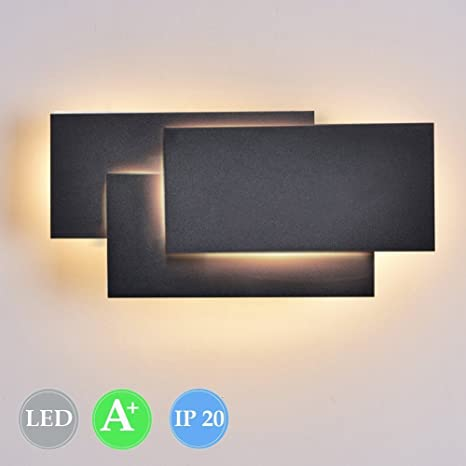 Ralbay 12W LED Wall Light, Black Wall Sconces Lamp for Indoor Bedroom Living Room Decorate (Black 3000K) - - Amazon.com