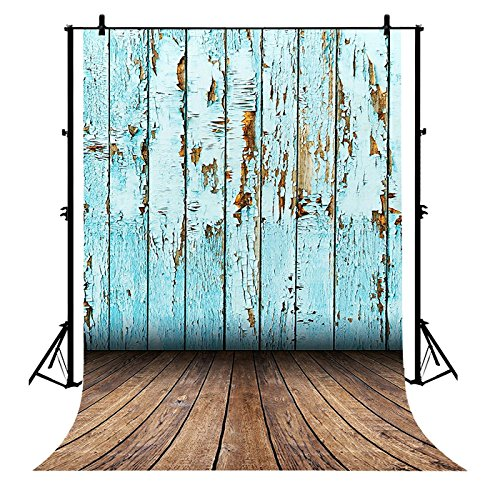 Wall Pockets Blue Peel - 7x5ft Country Retro Wood Wall with Floor Printed Blue Peel Off Paint Old Wooden Flooring Polyester Photography Backdrop Photo Background Studio Props