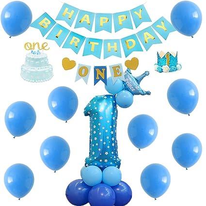 Amazon.com: 1 cumpleaños niño decoraciones con purpurina ...