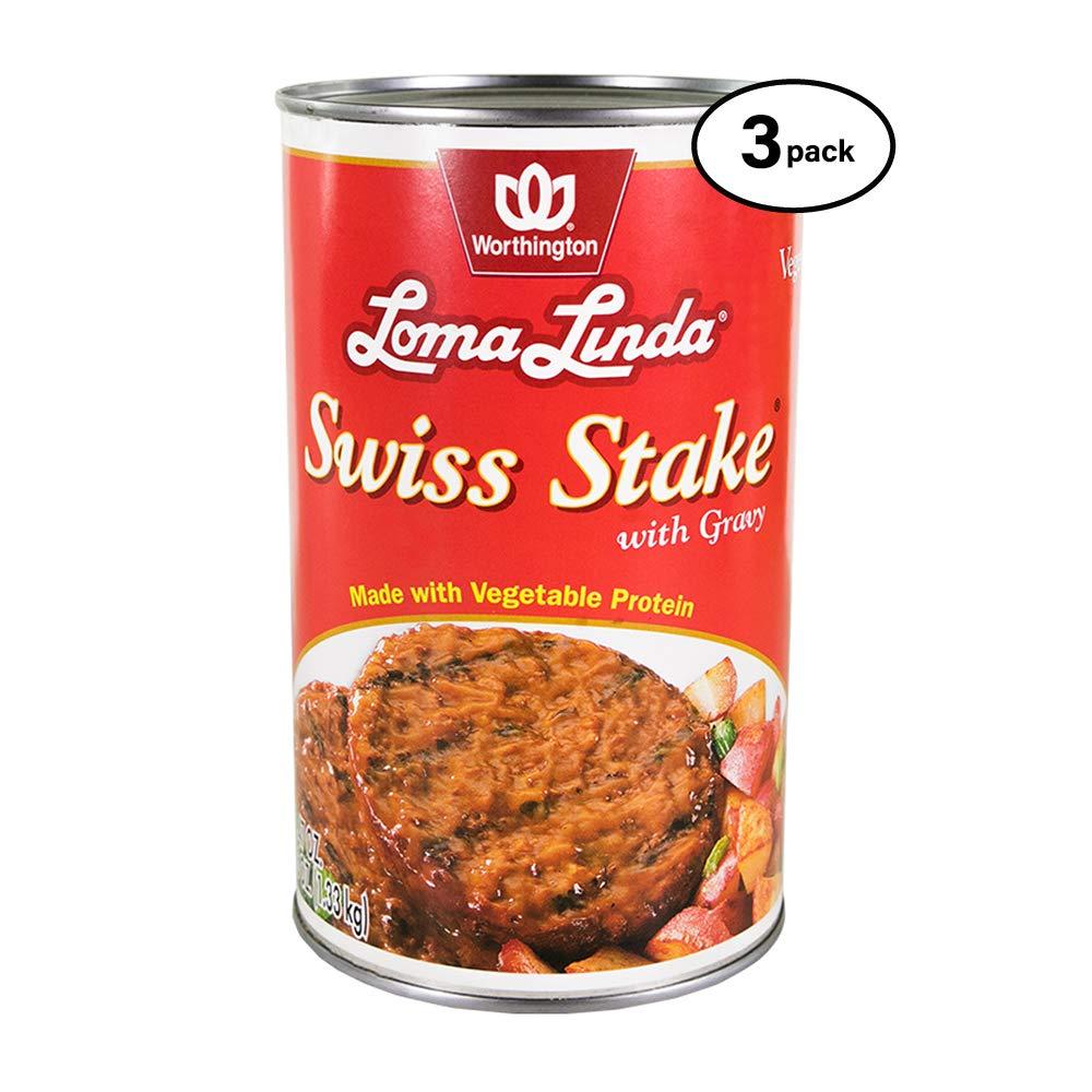 Loma Linda - Plant-Based - Swiss Stake with Gravy (47 oz.) (Pack of 3) - Kosher