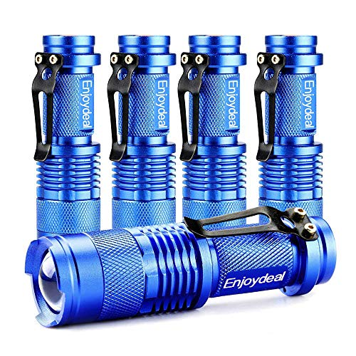 Enjoydeal LED Mini Flashlight [ 5 PACK ] Ultra Bright 350 Lumens Handheld Waterproof Flashlights Adjustable Focus with 3 Mode for Kids Child Camping Cycling Hiking Emergency Torch Light