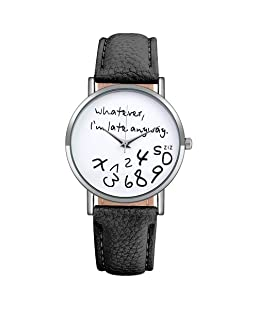 Souarts Artificial Leather Whatever I am Late Anyway Round Quartz Wrist Watch