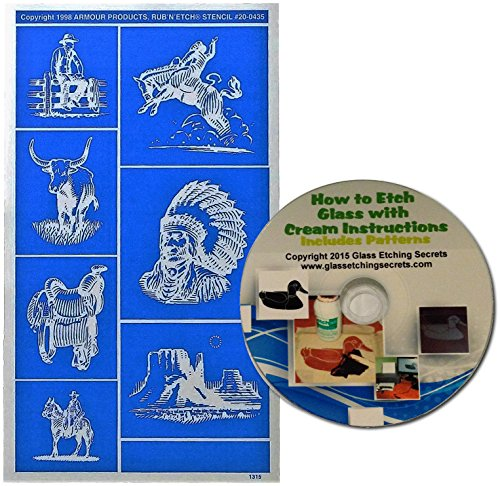 Cowboys & Indians Glass Etching Stencils, Western Series + Free How to Etch (Western Glass)