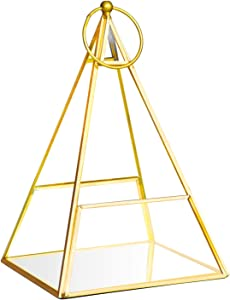 Banord Gold Tabletop Geometric Terrarium, Pyramid Metal with Glass Succulent Terrarium Container, Hanging Air Planter Votive Candle Holder
