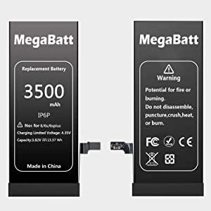 MegaBatt Battery for iPhone 6 Plus, 3500mAh High Capacity Replacement Battery New 0 Cycle, with Complete Repair Tool Kits and Instruction- 1-Year Warranty