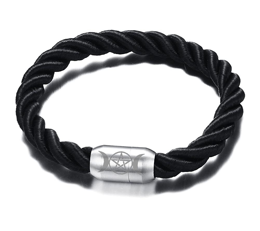Vnox Fashion Handmade Braid Rope Stainless Steel Triple Moon Goddess Magnetic Clasp Cuff Bracelet