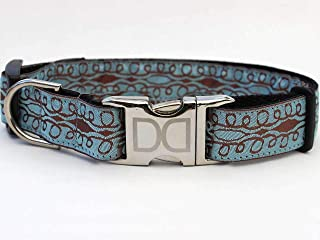 product image for Calligraphy Custom Dog Collar in Sky Blue/Chocolate (Optional Matching Leash Available) XS/S