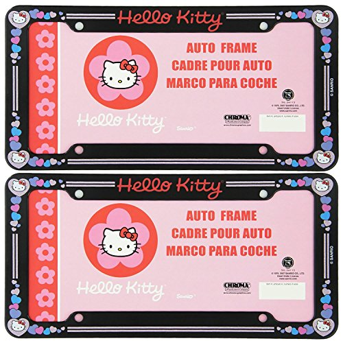 (A Set of 2 Plastic Glitter Automotive License Plate Frame - Sanrio Love Hello Kitty Hearts)