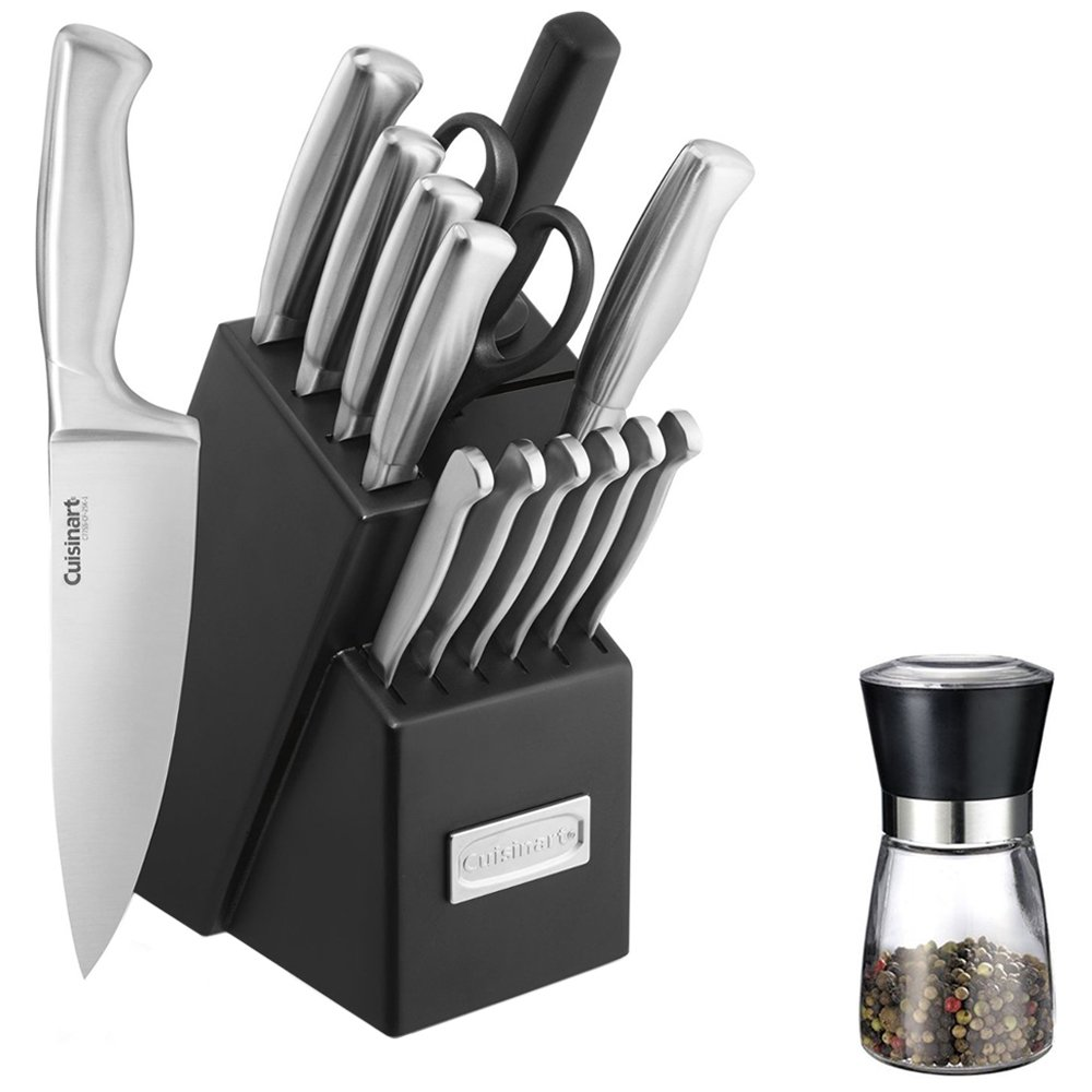 Cuisinart (C77SS-15PK) Stainless Steel Hollow Handle 15-Piece Cutlery Knife Block Set w/Spice Mill