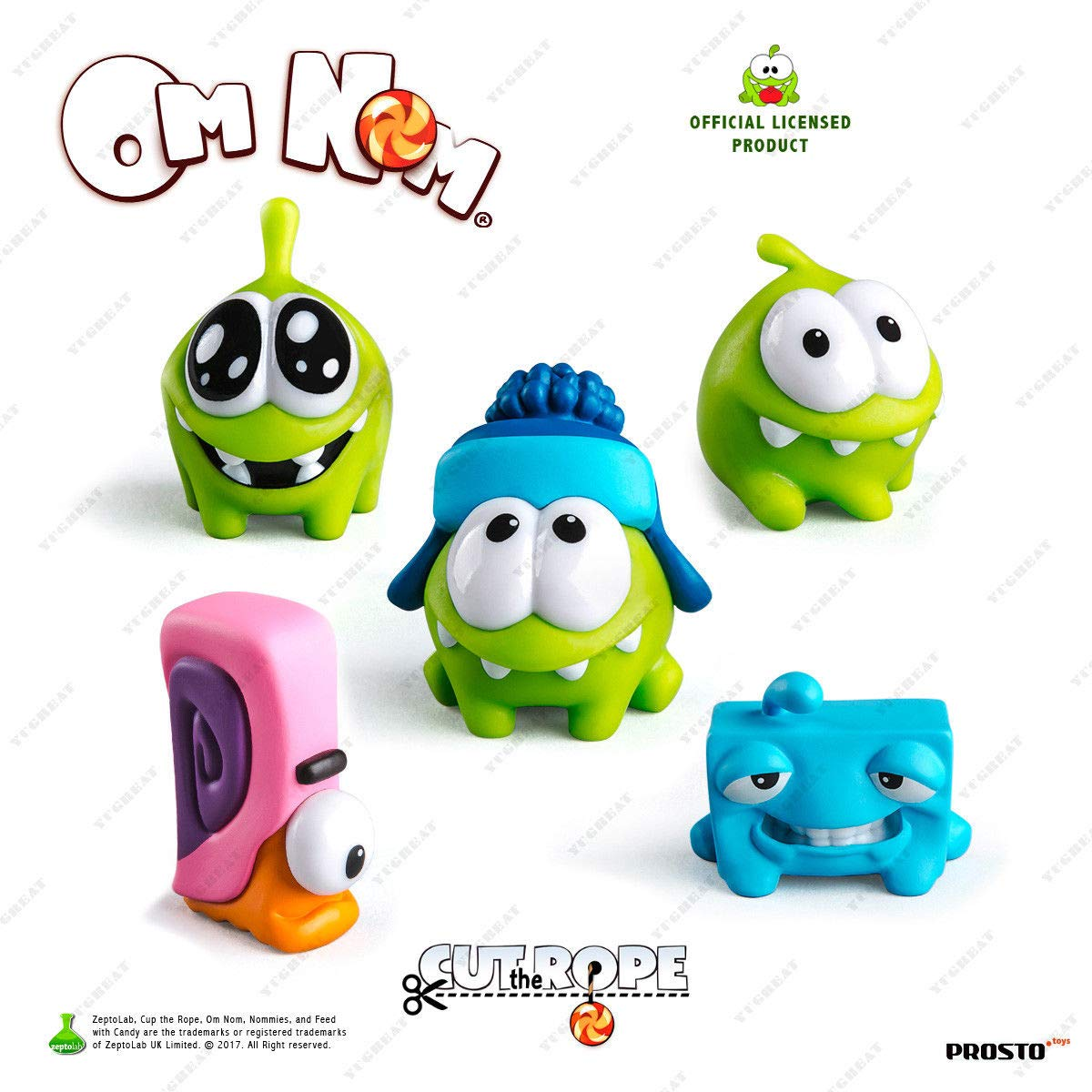 OPTOVICHOK A Set of 5 Mini Figures playset Am Nyam NOMMIES Cut The Rope Toys by OPTOVICHOK