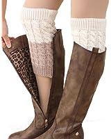 FAYBOX Women's Short Leg Warmer Crochet Boot Cover