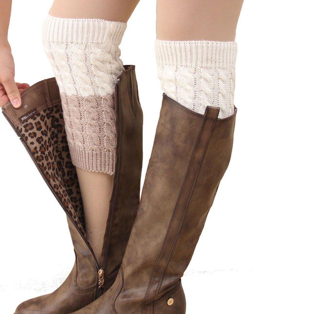 FAYBOX Women's Short Leg Warmer Crochet Boot Cover WCA10004MIX4