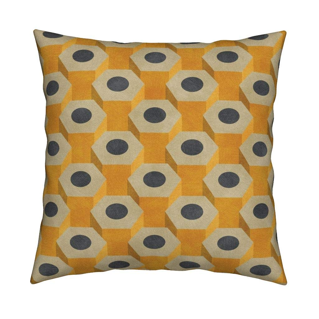 Roostery Pencils Organic Sateen Throw Pillow Pencils Teacher Student School Classroom Yellow Gray Pencils School Geometric Writing Hexagons by Siya Cover and Insert Included by Roostery (Image #1)
