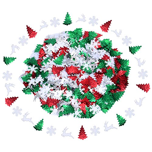 Sumind 45 g Mixed Embossed Confetti Metallic Snowflakes Reindeer Christmas Tree Confetti Table Decorations for Christmas Party Holiday Decor