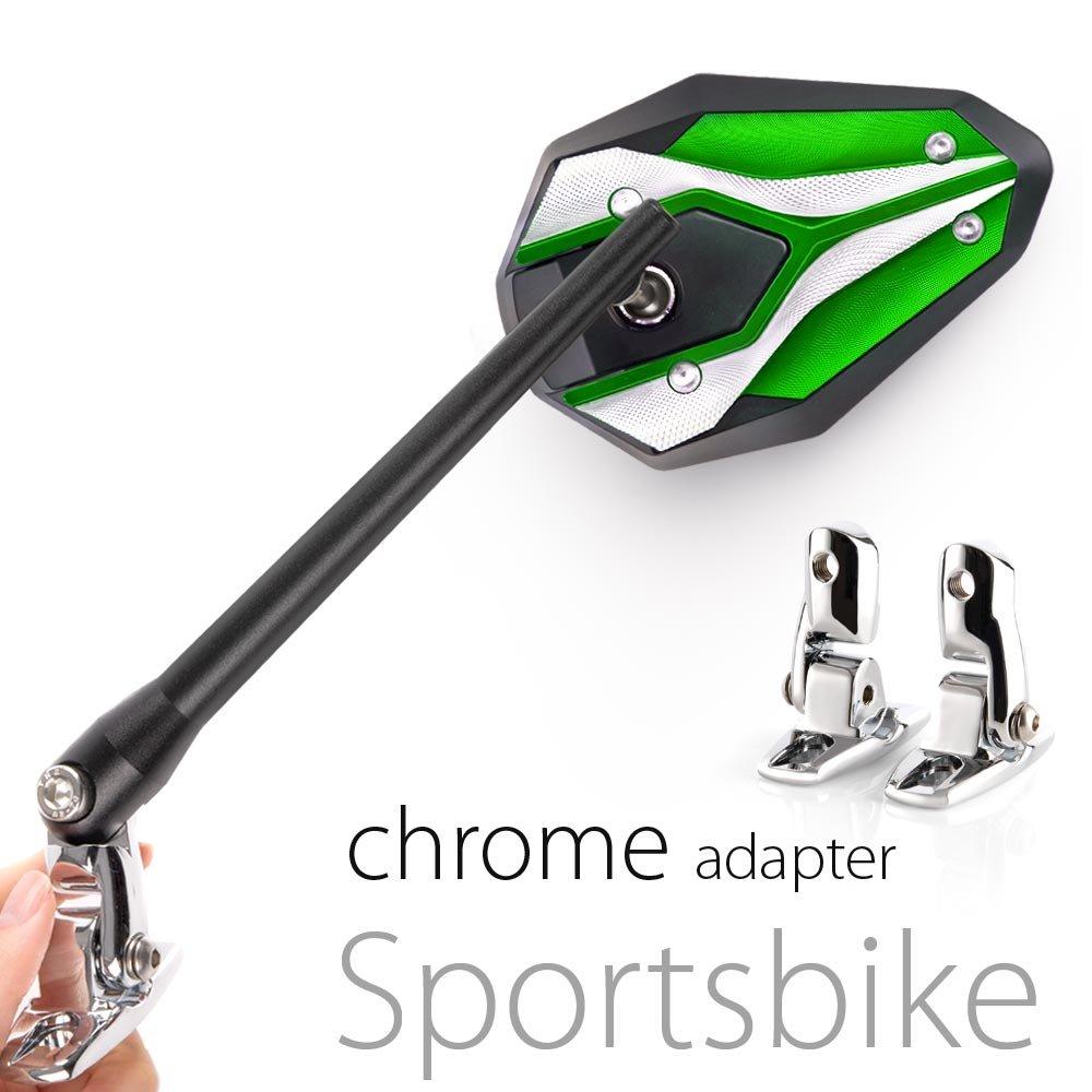 KiWAV Magazi Viper II motorcycle mirrors green fairing mount w/ chrome adapter for sports bike adjustable e