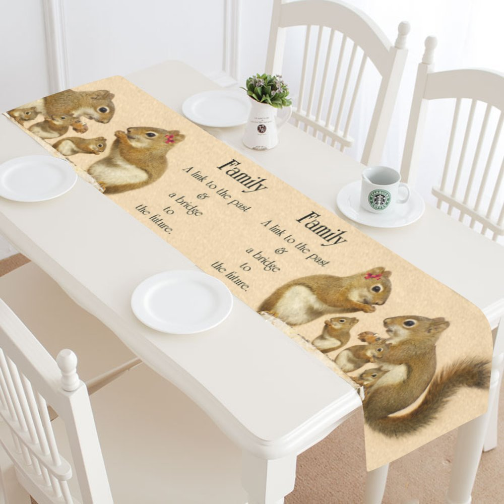 interestprint Funny Squirrelテーブルランナーホーム装飾16 x 72インチ、愛引用符テーブルクロスランナー用ウェディングパーティー宴会装飾 14 X 72 inch 14 X 72 inch  B0732Y98TQ
