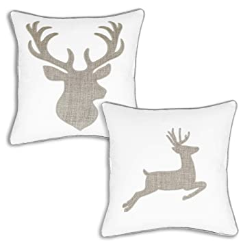 Awesome Deer Head And Elk Cotton Throw Pillow Covers Embroidered 18X18 Inches For Couch Cushions Covers 2 Pack White Inzonedesignstudio Interior Chair Design Inzonedesignstudiocom