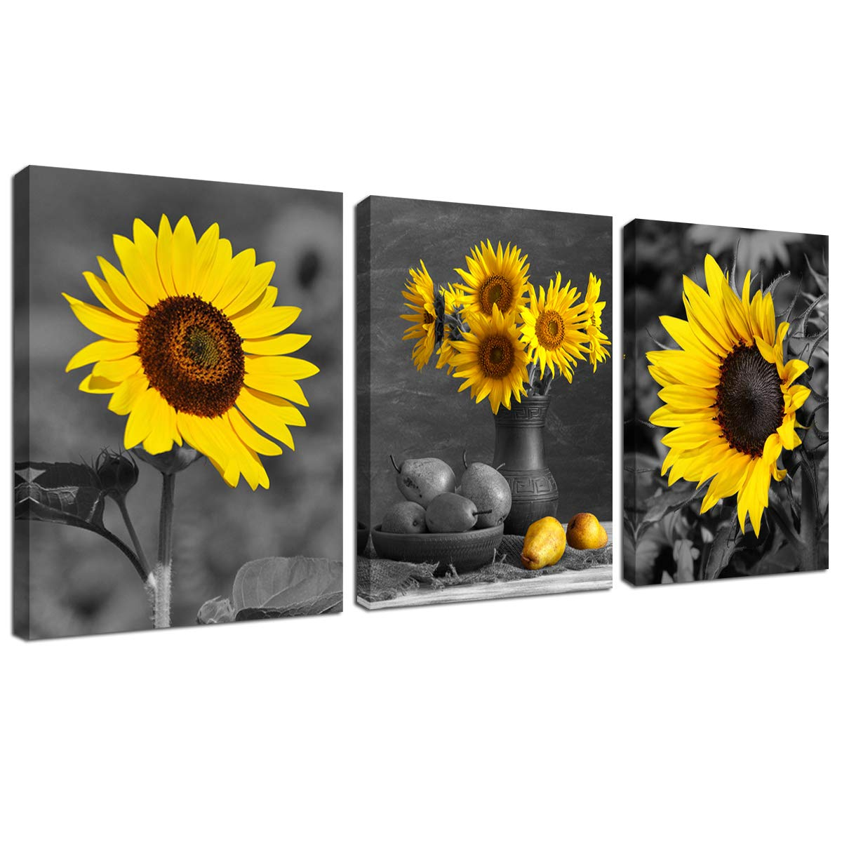 Sunflower Decor Framed Wall Art - Black and White Yellow Flowers Painting Home Office Farmhouse Picture Hanging Kitchen Bedroom Living Room Decoration Canva Print 12''x16'' 3 Piece Modern Artwork