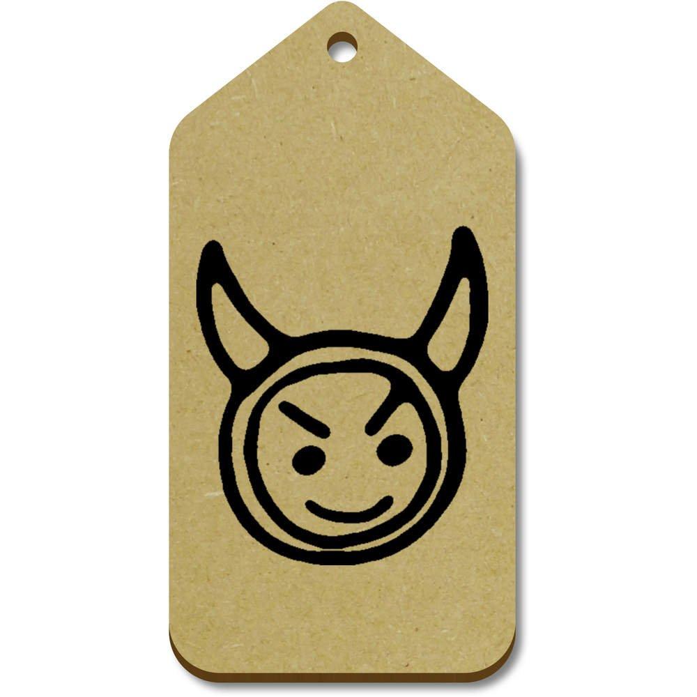 Azeeda 10 x Grand 'Visage Diable' etiquettes de Bagage / Cadeau en Bois (TG00063466)