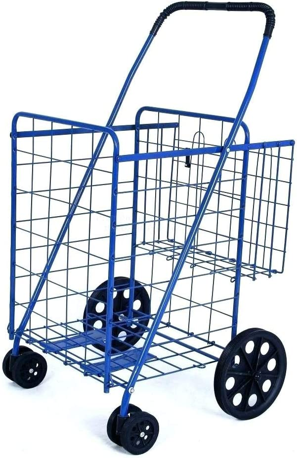 Swivel Wheels FOLDING SHOPPING/LAUNDRY CART with Double Basket Cart - Blue